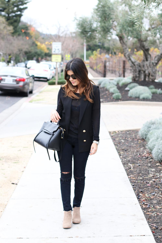 Black Zara Vest Jbrand Jeans