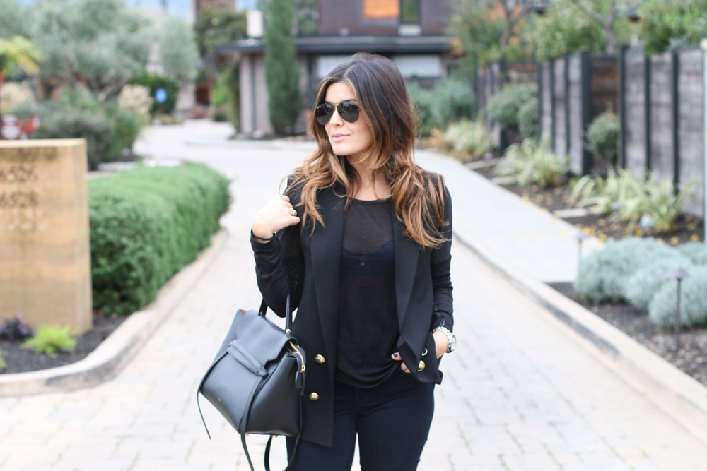 Black Vest and Celine Bag