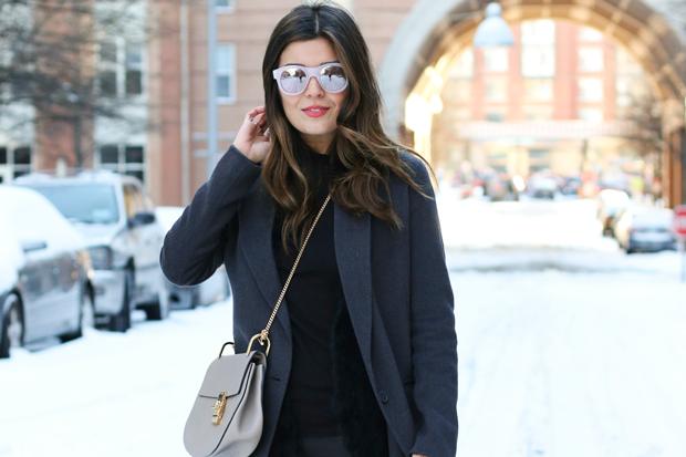 Mirrored Sunglasses and Chloe Drew Bag
