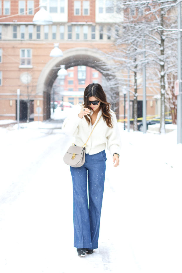 Wide Leg Pants and Cream Sweater