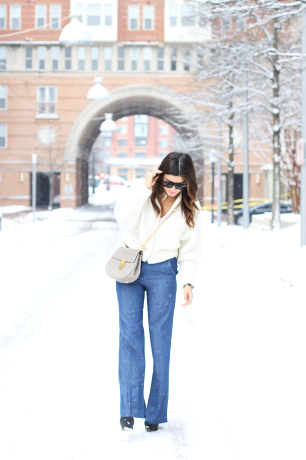 Wide Leg Pants and Ivory Sweater