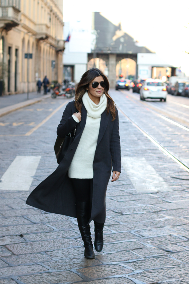 Sandro Coat and H&M Ivory Sweater
