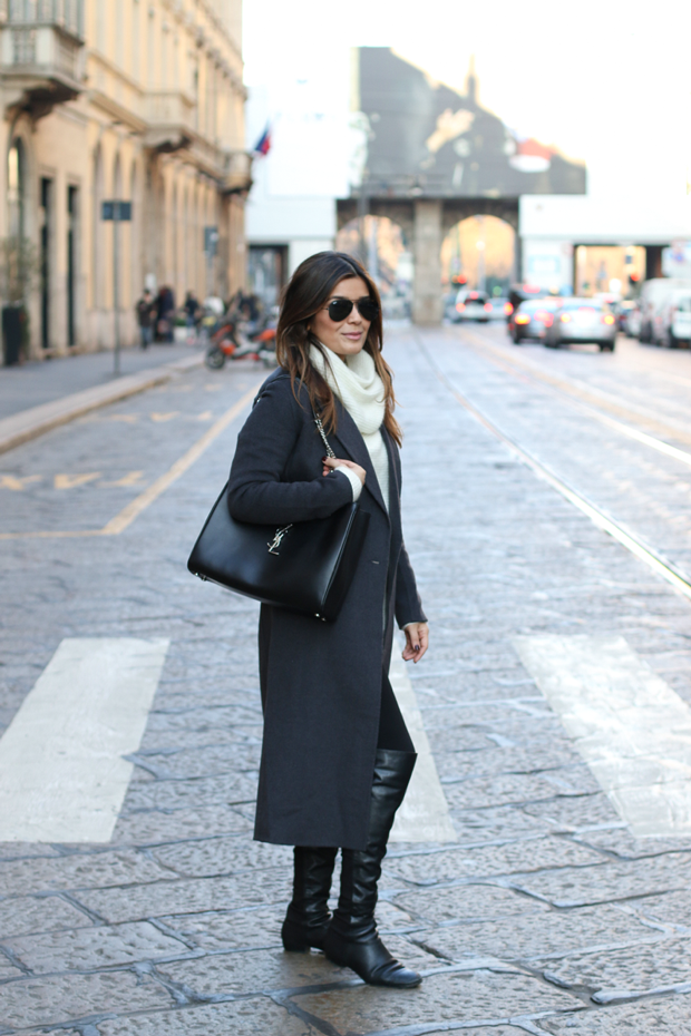 YSL Shopper Tote and Over the knee Boots