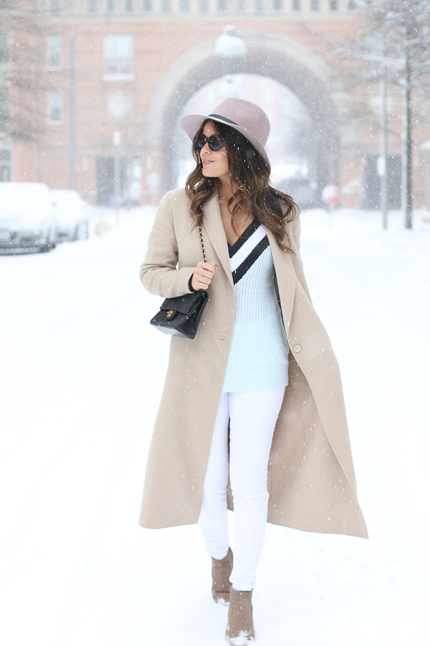 Sandro-Camel-Coat-and-Chanel-Bag