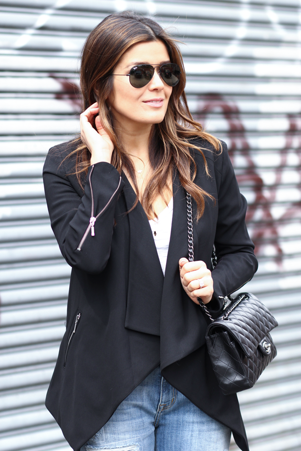 Draped Black Blazer