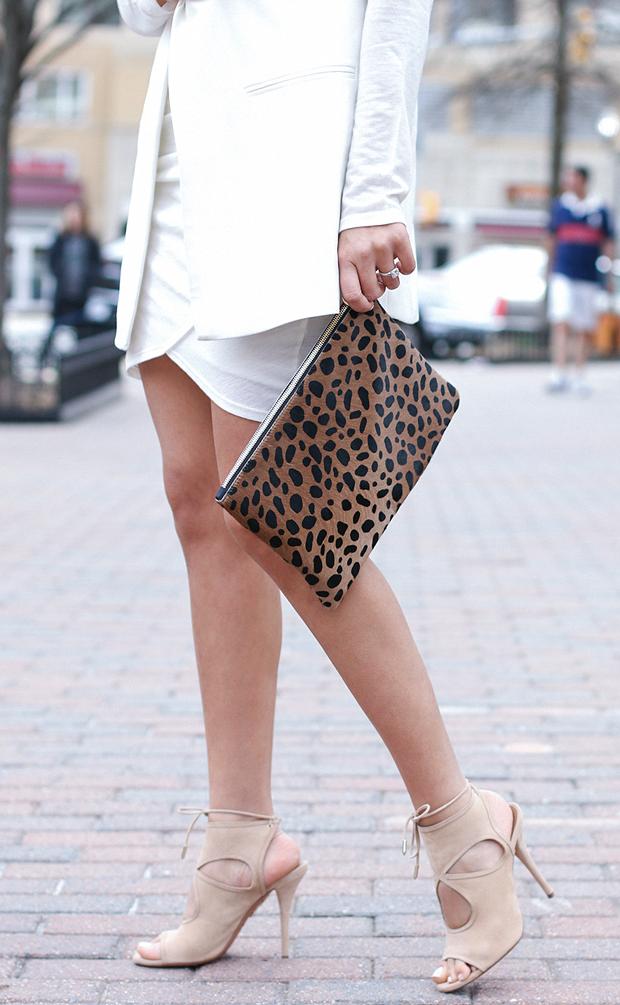 Leopard Clutch, Nude Sandals, White Vest