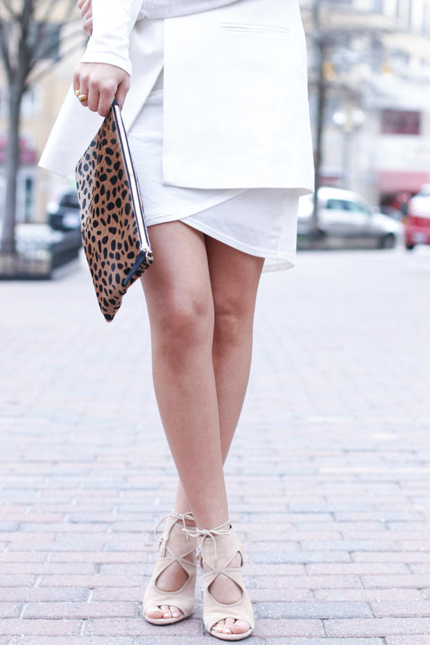 Leopard Clutch and Nude Booties