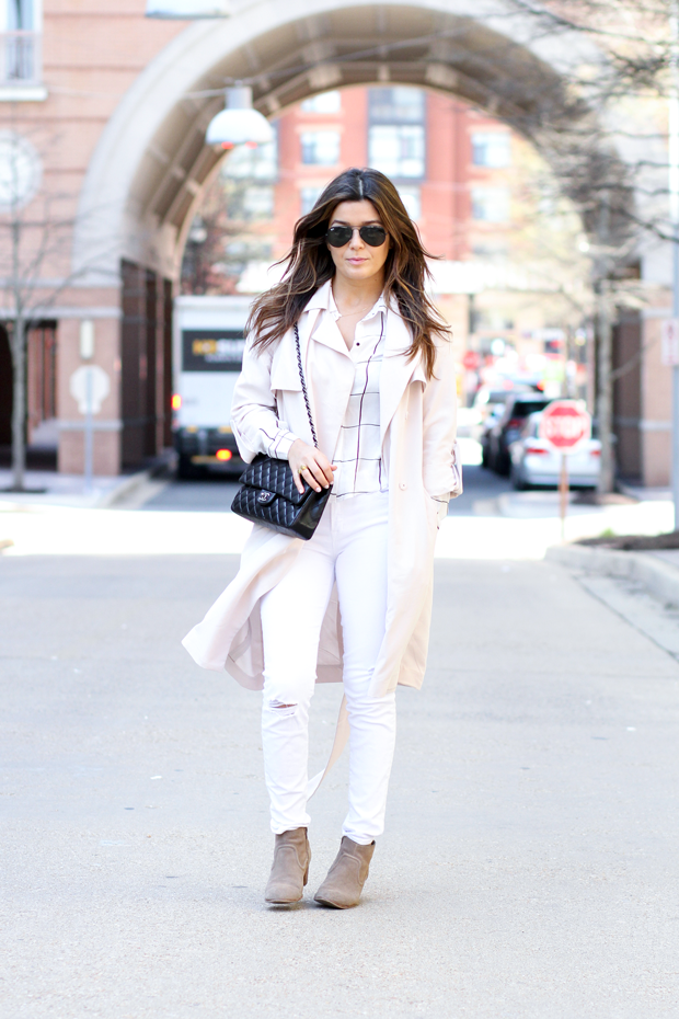 Blush Trench Coat and Chanel Bag