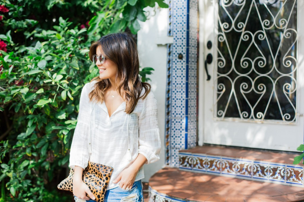 Peasant Tops and Leopard Clutch