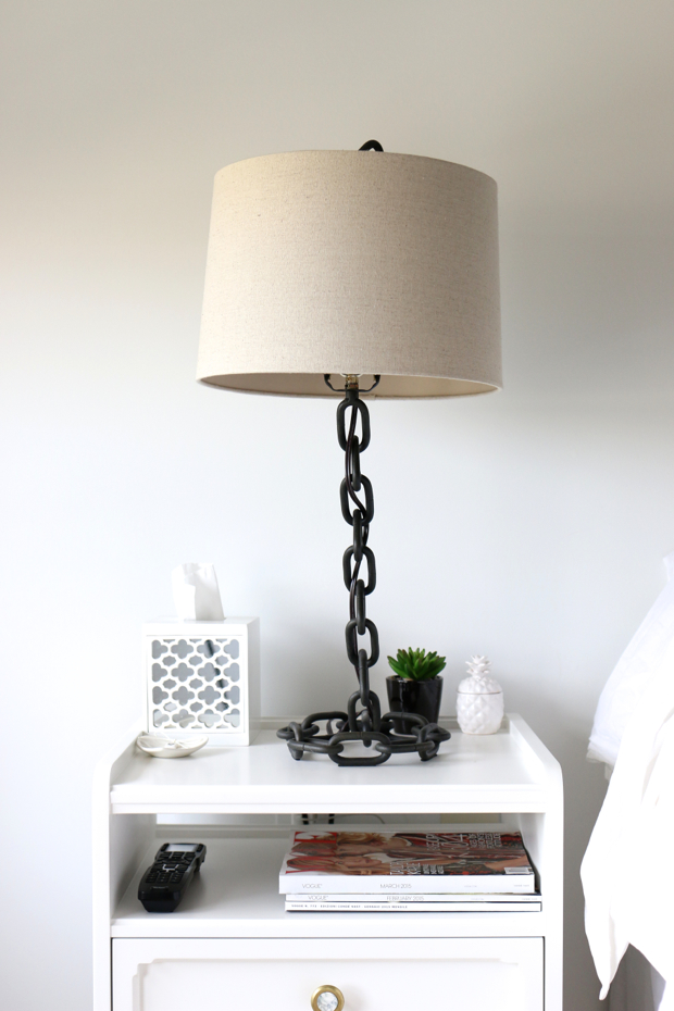 chain accented bedside lamp