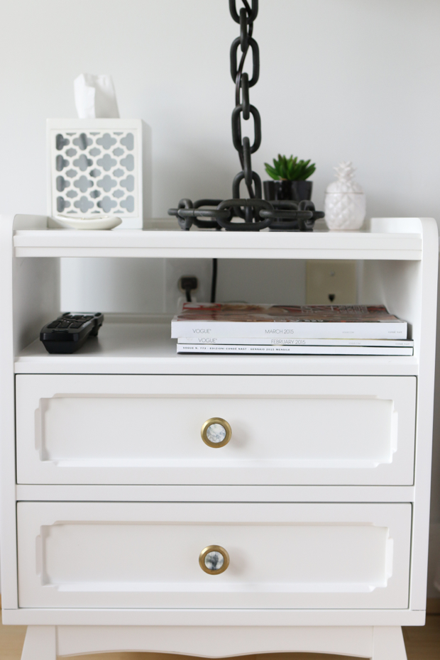 White Nighstand with Gold Hardware