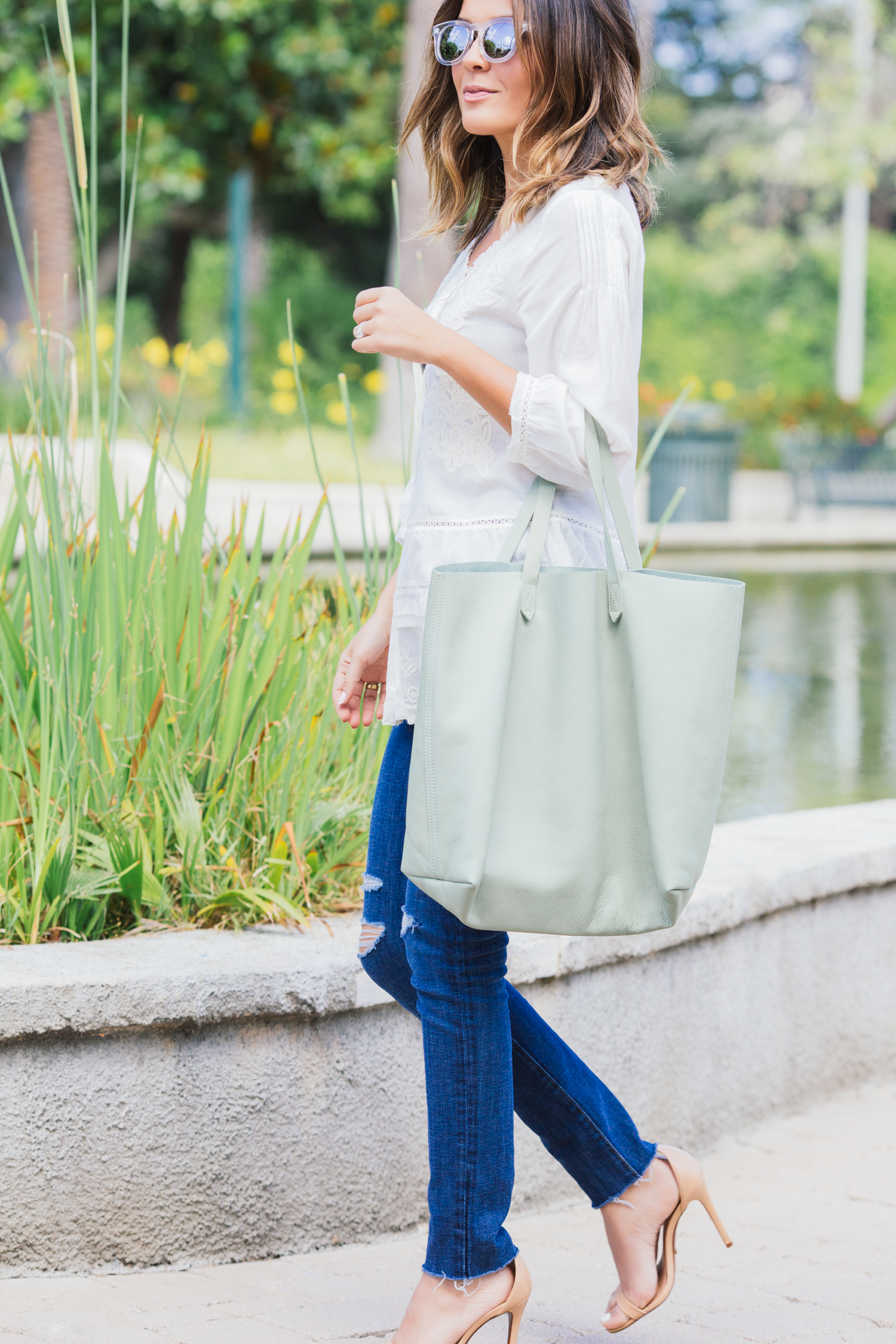 madewell transport tote and velvet top