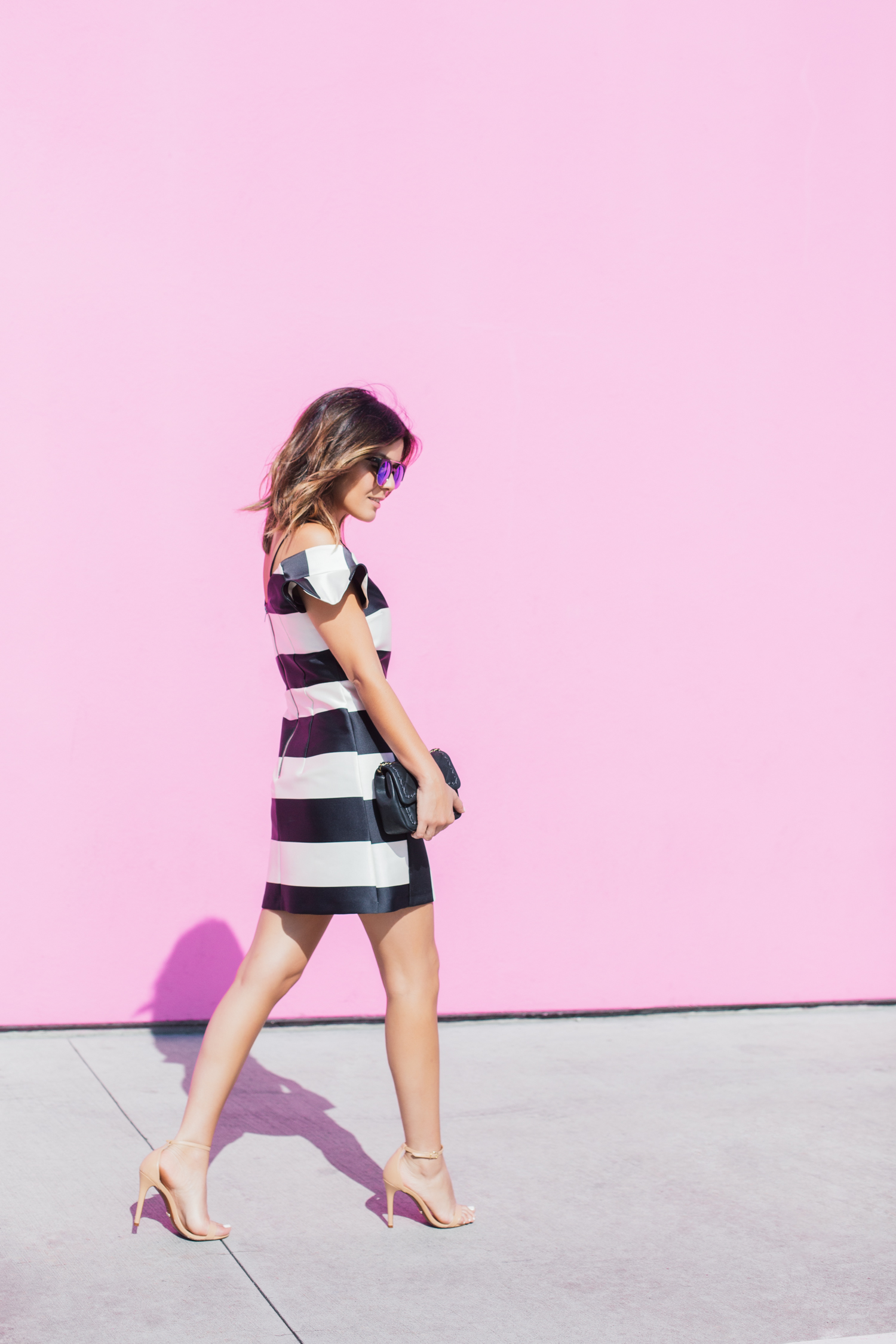 topshop stripe bardot dress with nude heels