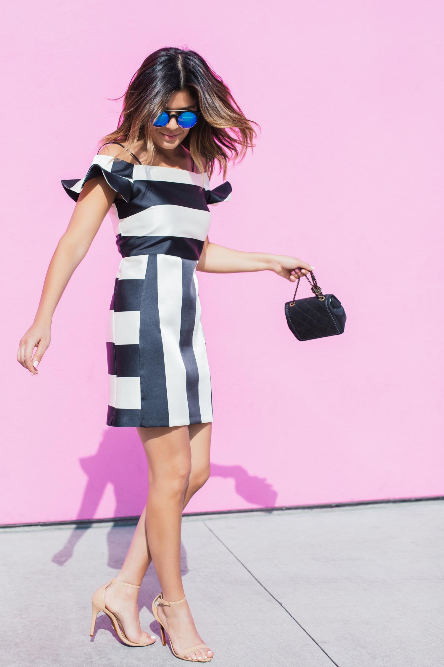 stripe bardot dress from topshop