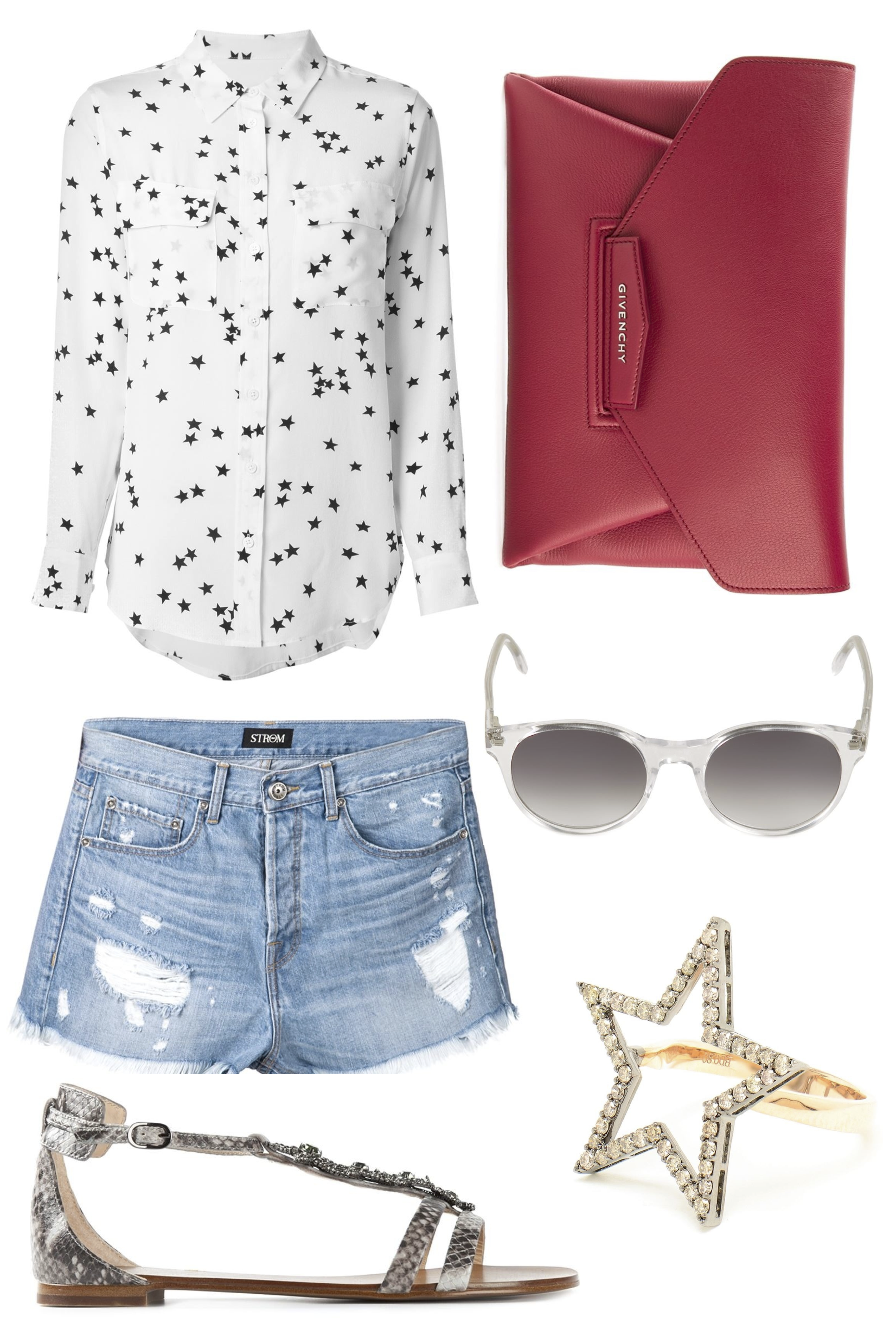 4th of july outfit ideas with denim cut off shorts