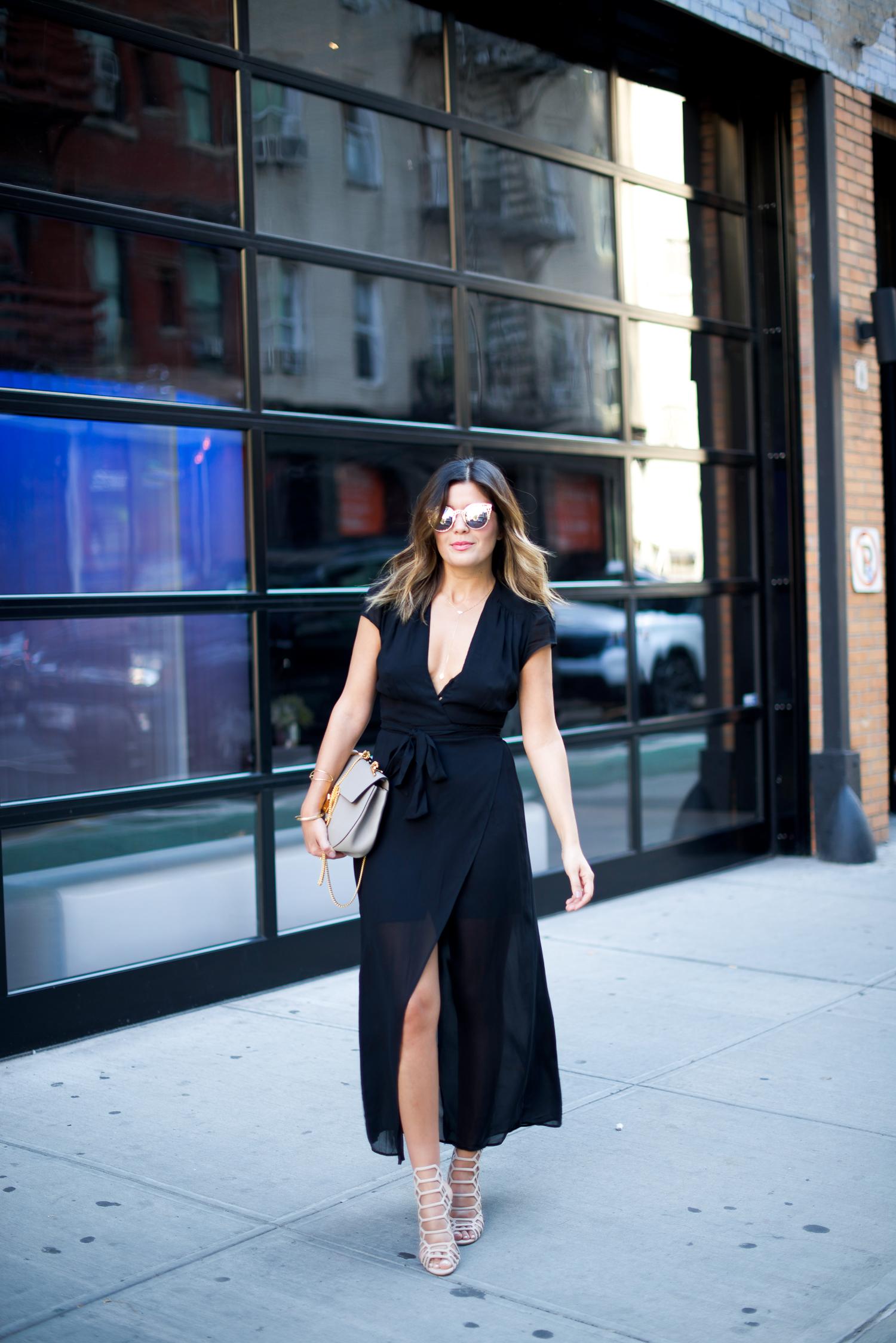 Reformation Black Wrap Dress