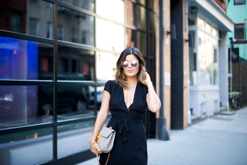 Quay Sunnies and Black Wrap Dress