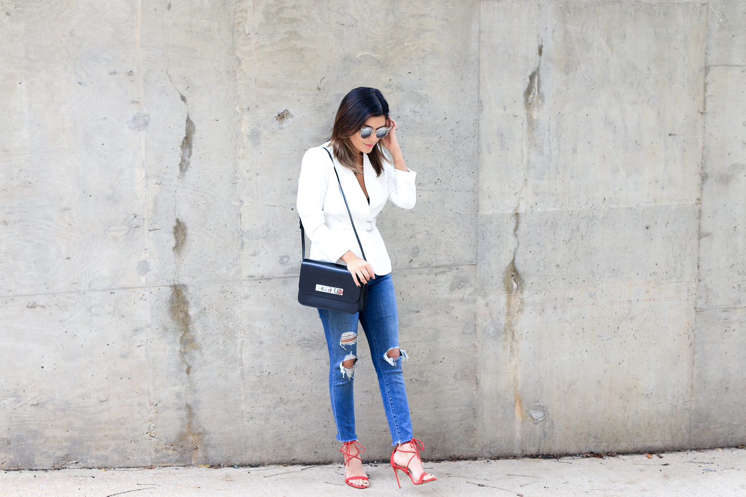 white blazer and jbrand jeans