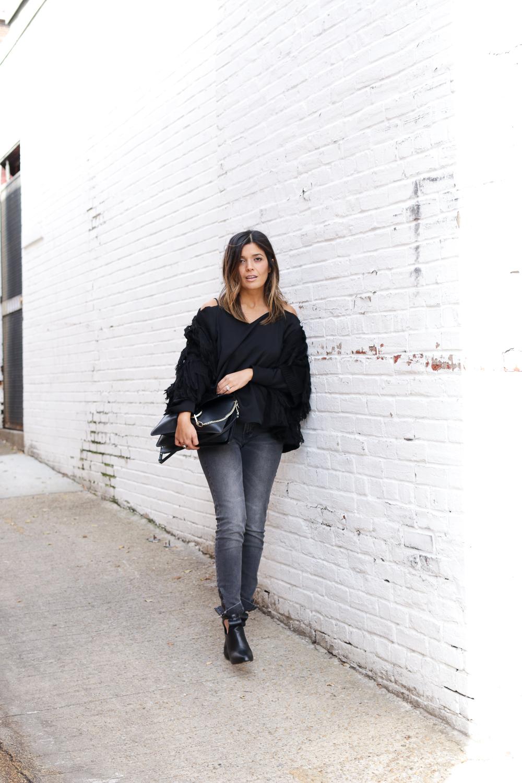 H&M Fringe Sweater, Grey Denim, and Open Shoulder Top