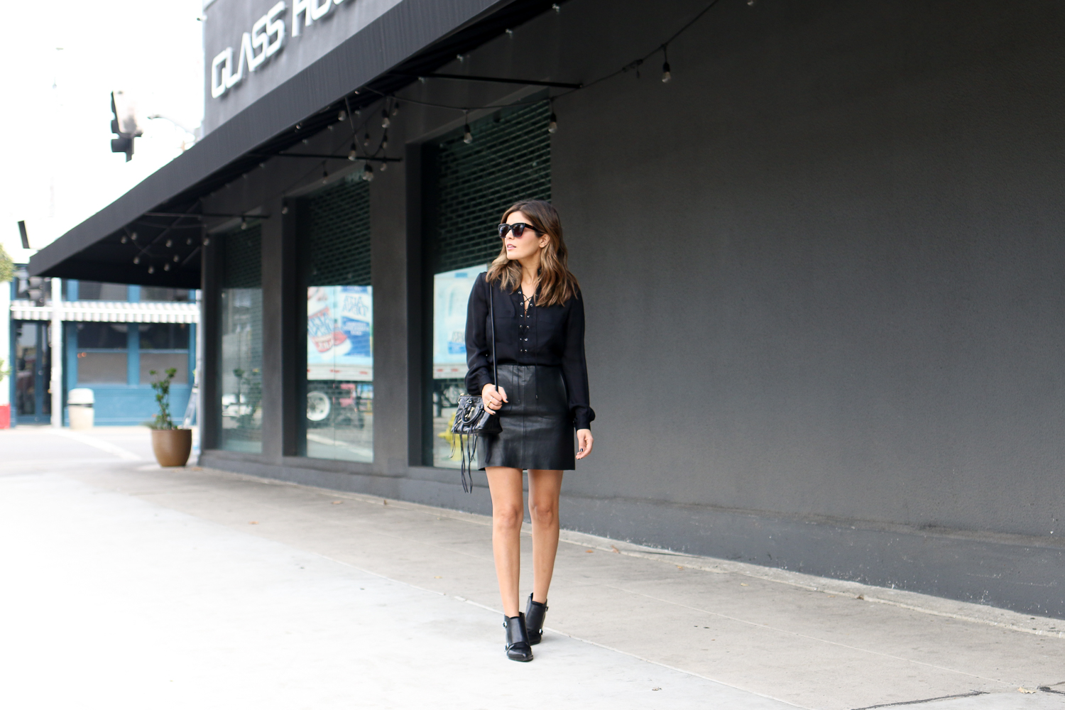 Black on Black outfit wearing leather