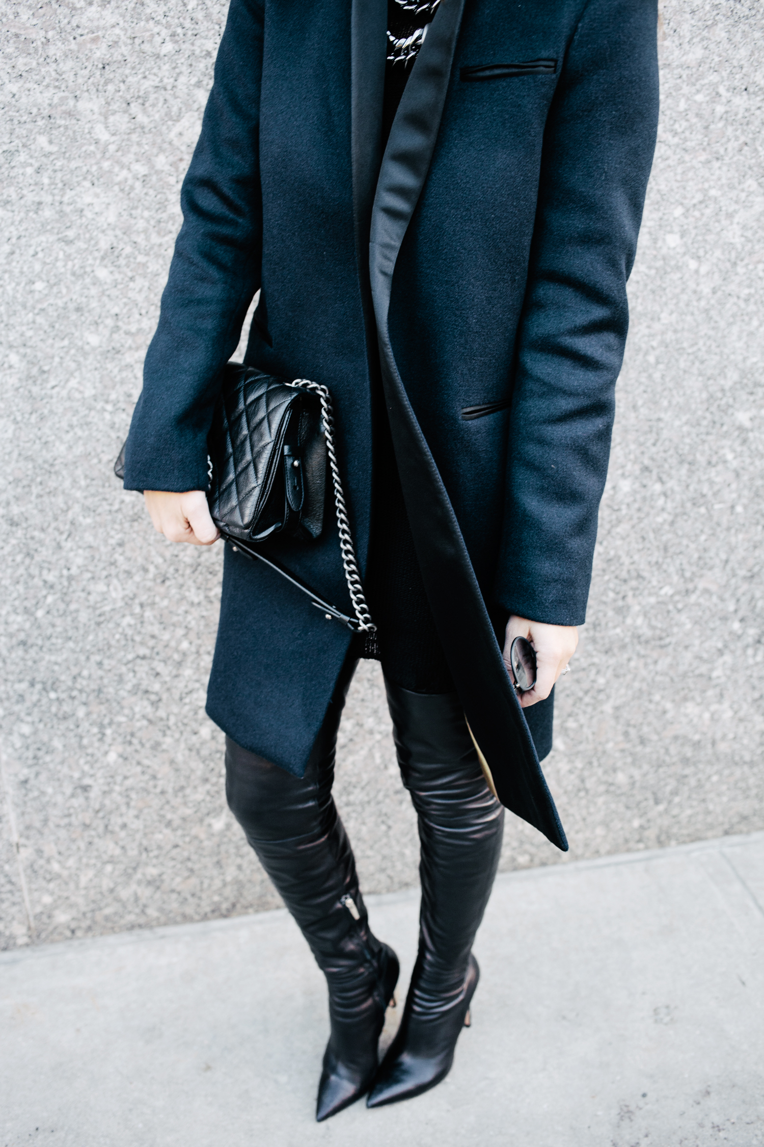 Lafayette 148 coat and leather leggings