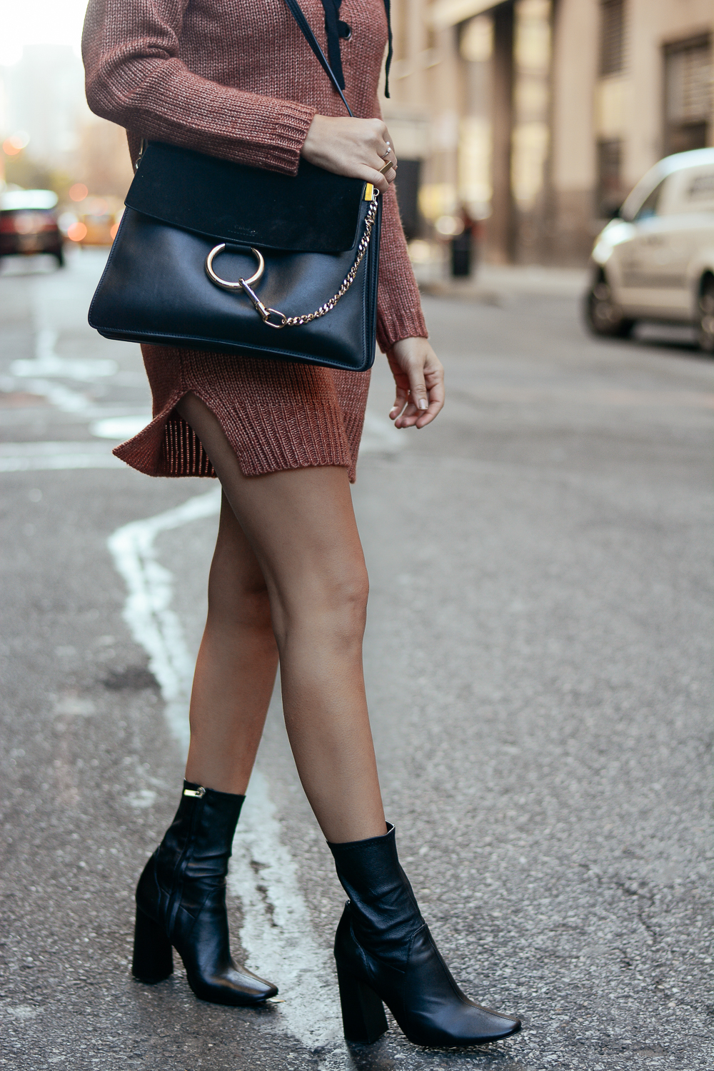Zara booties and Chloe Faye Purse