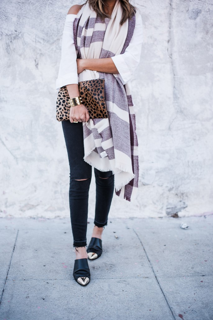 Nordstrom Plaid Scarf and Leopard Clutch
