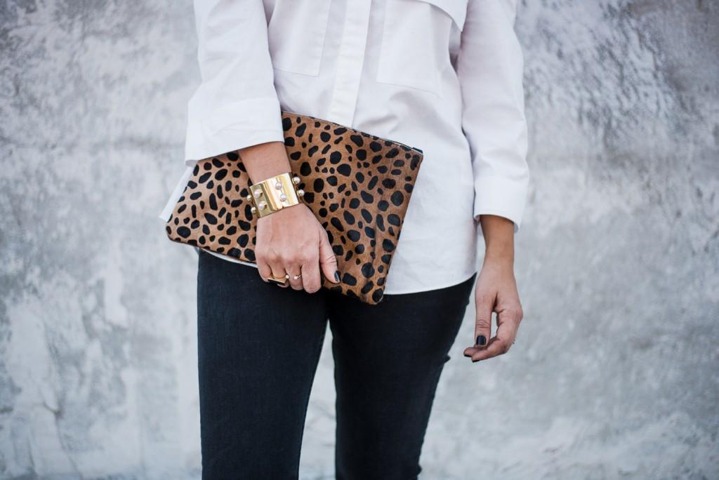 Leopard Clutch and Baublebar Cuff