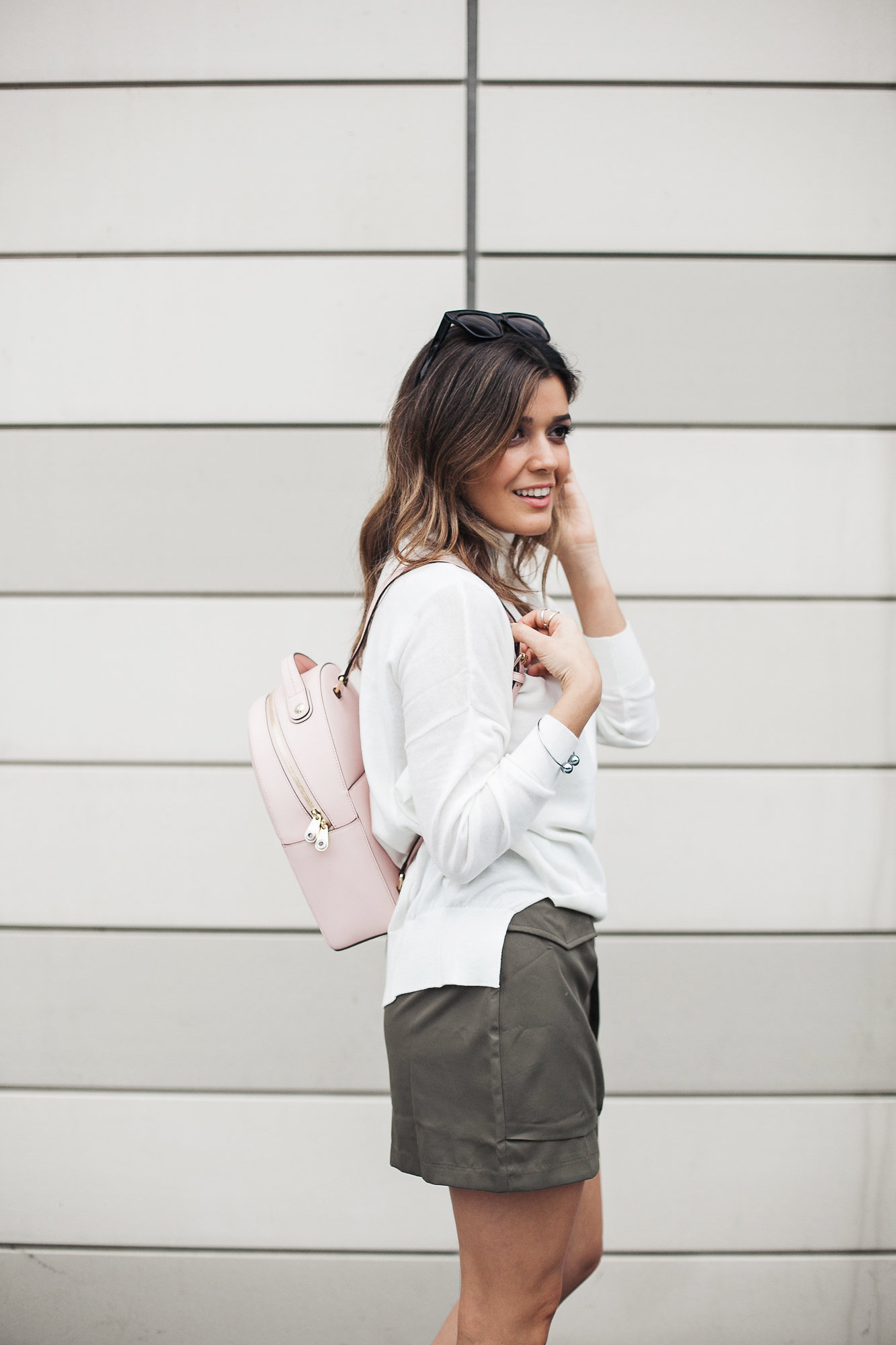 Pink Henri Bendel Backpack and Asos Sweater