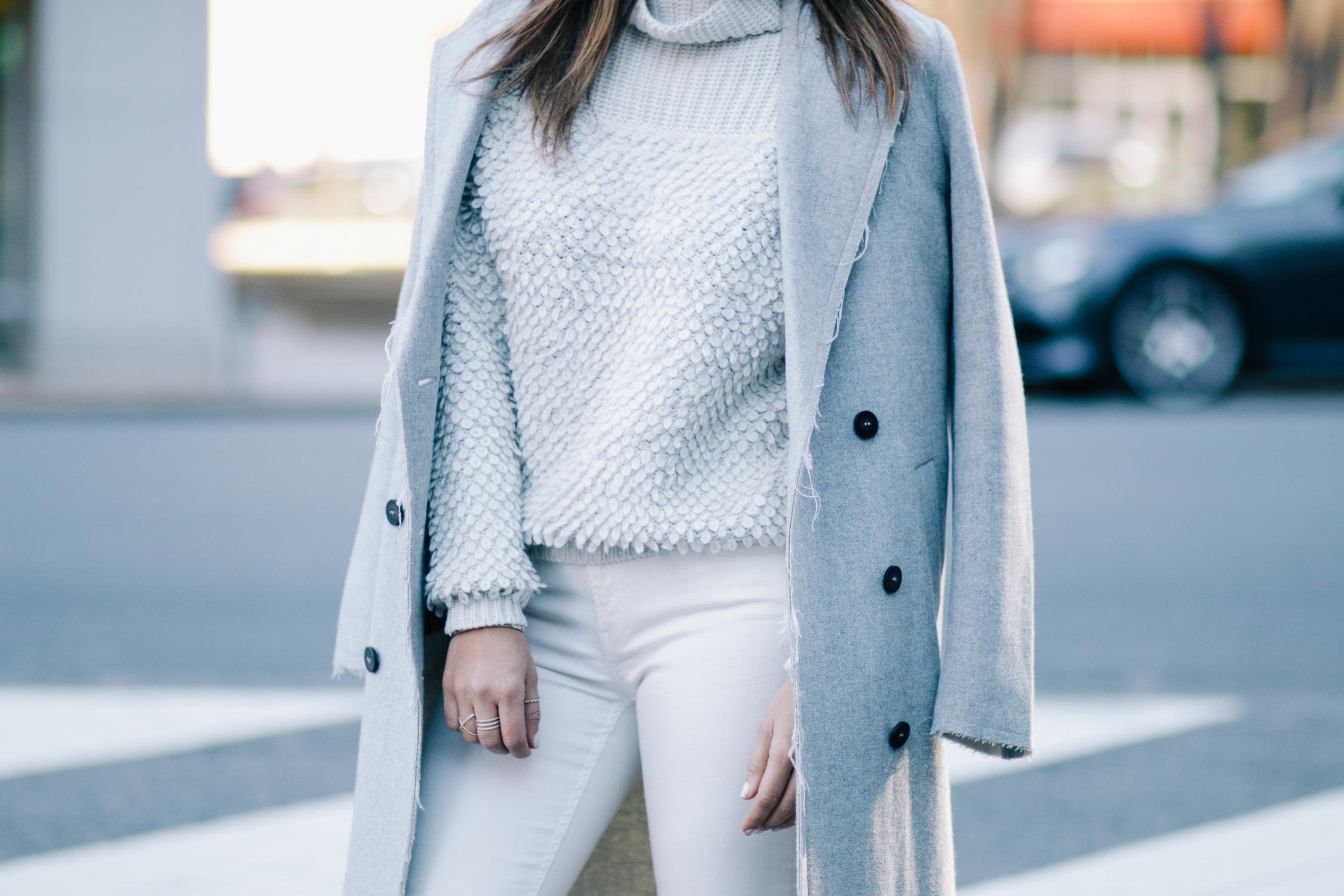 Grey Overcoat and Aritzia Sweater