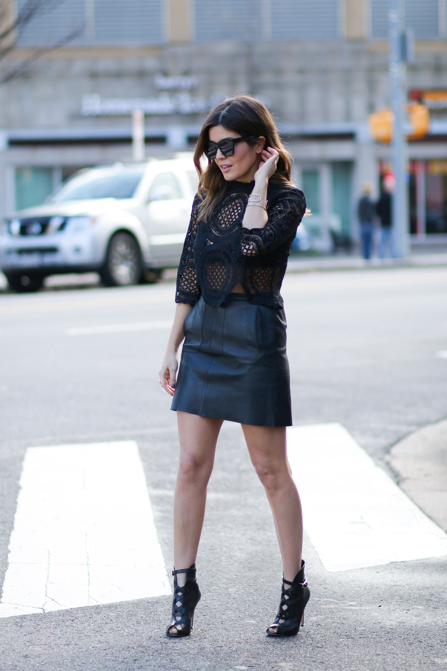 A Black Lace Top | An Edgy Wintertime Look | Style MBA