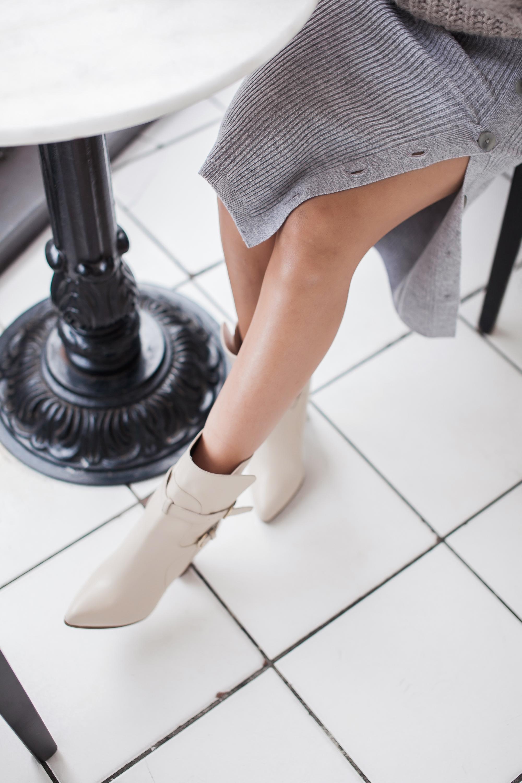 Grey Ribbed Sweater Skirt
