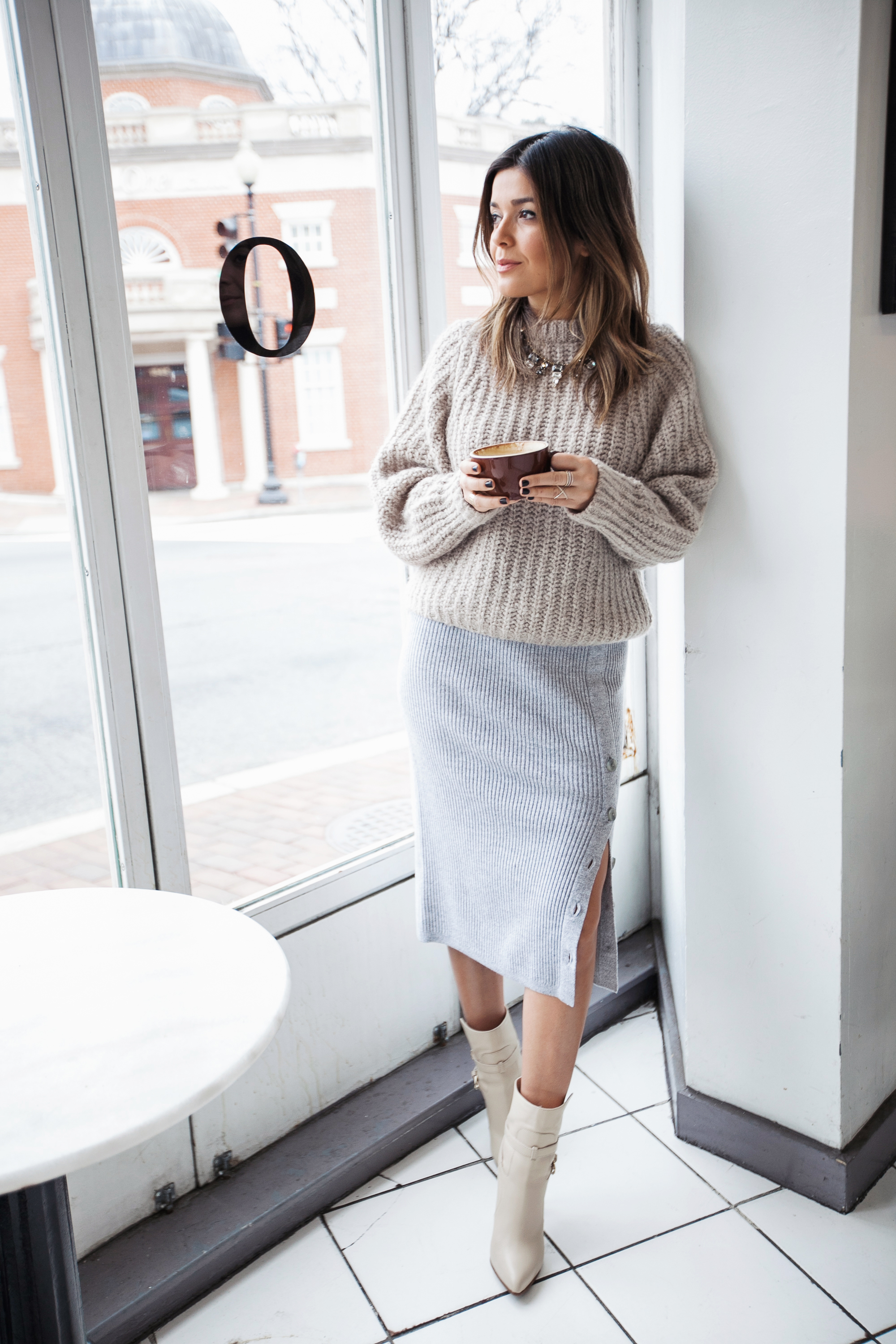 Ribbed Sweater Skirt and Chunky Knit
