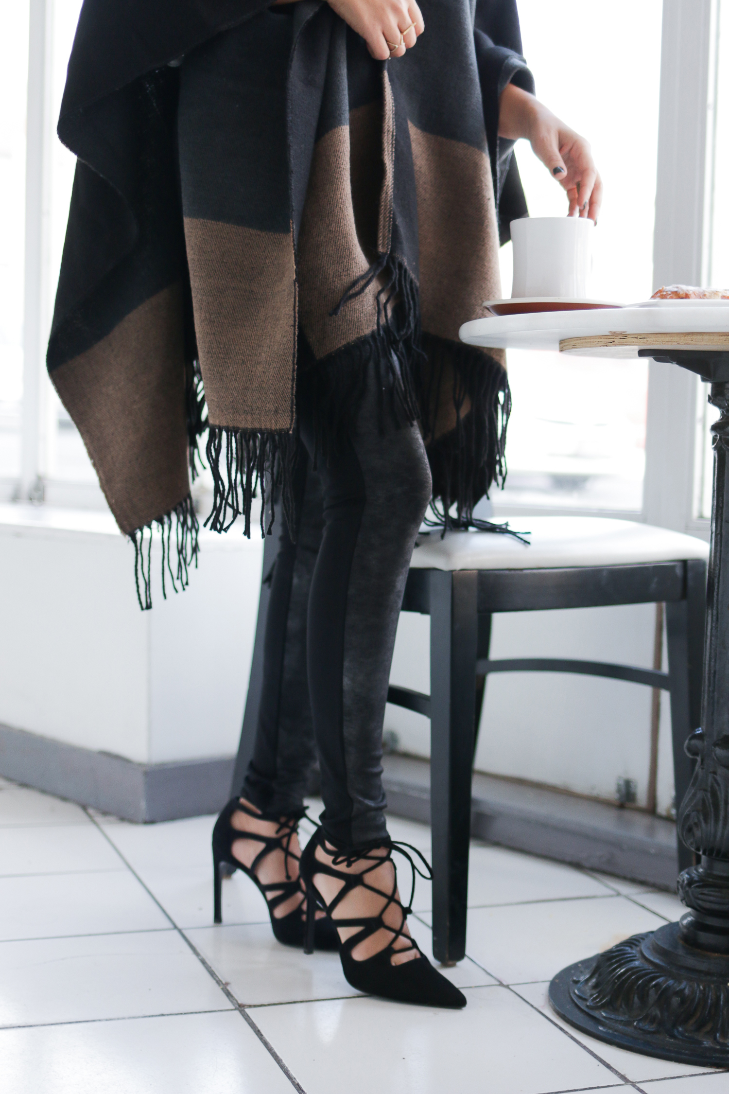 Fringe Ponch, Lace Up Pumps, Faux Leather Leggings