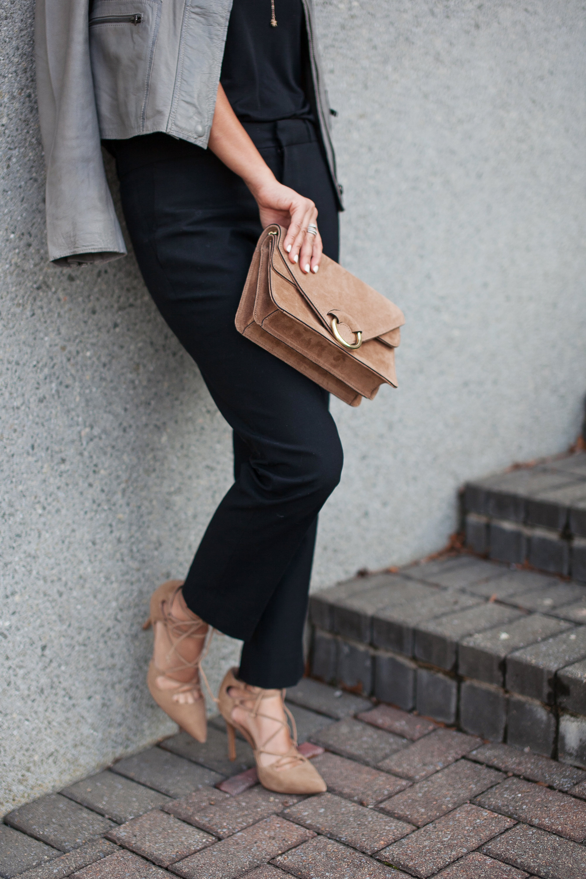 Nude Lace Up Pumps and Bag