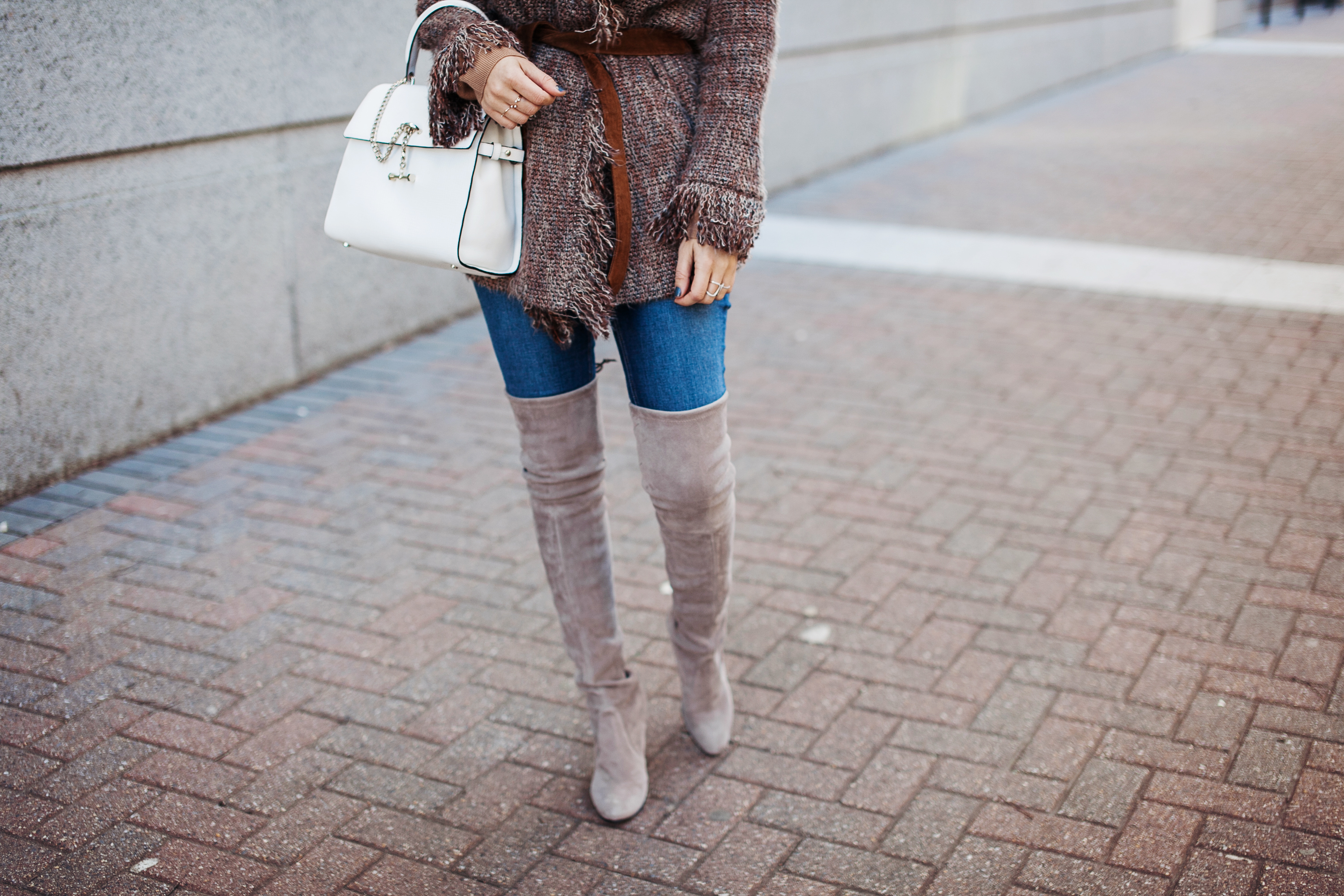Fringe Jacket with Over the knee Highland Boots