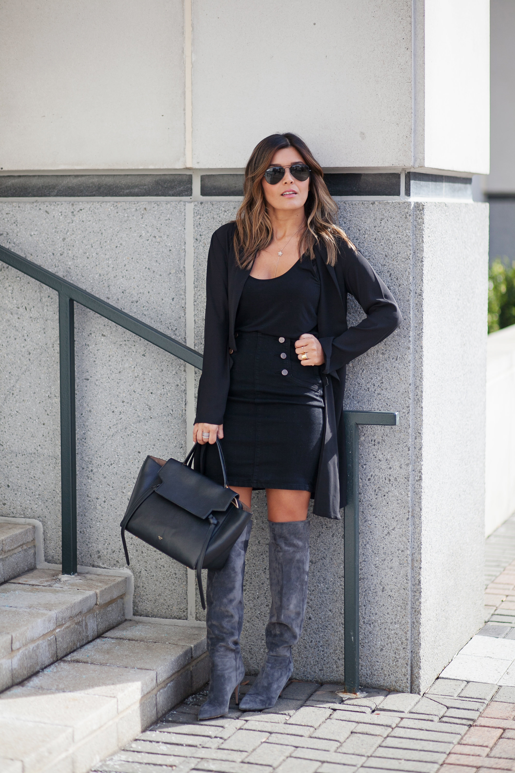 Black Denim Skirt Look
