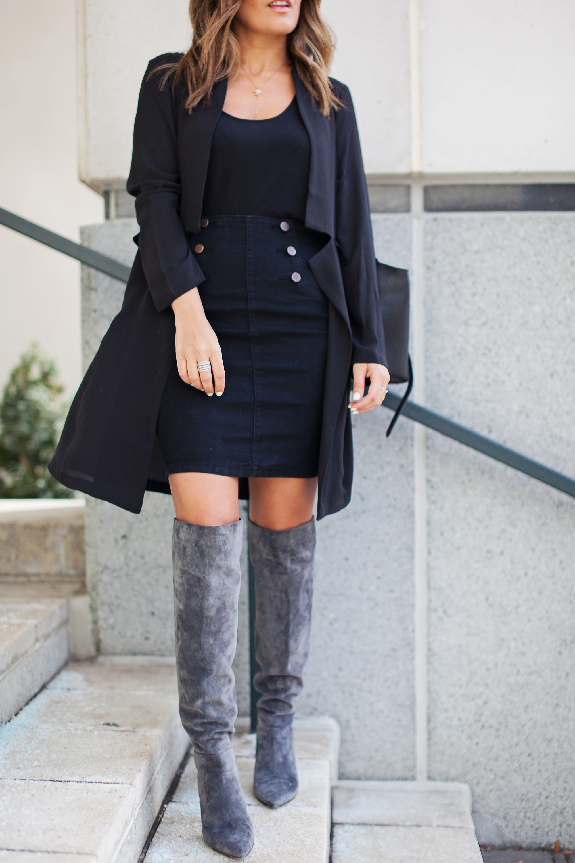 Forever 21 denim skirt with gold buttons
