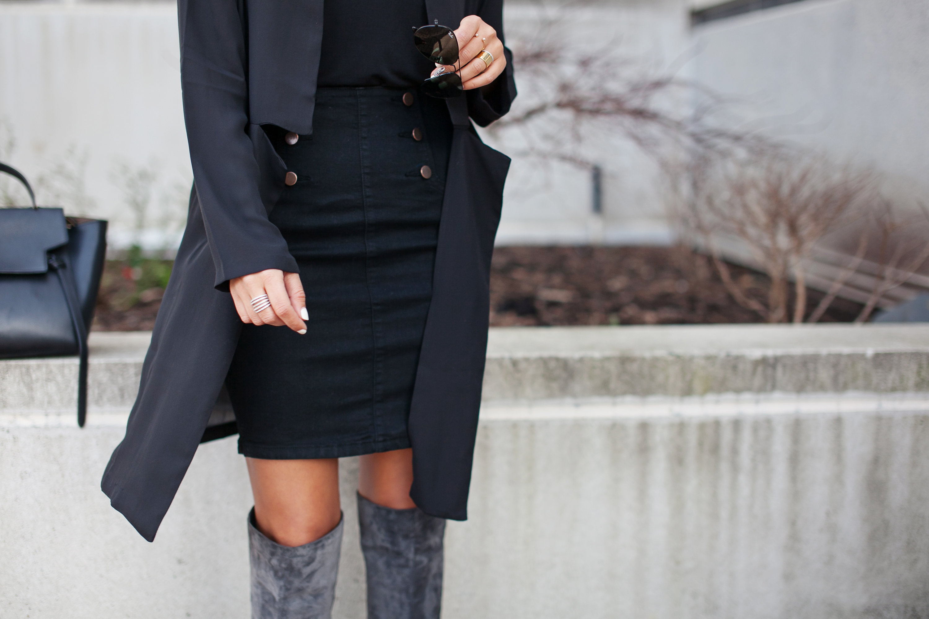 Denim Skirt and Celine Bag