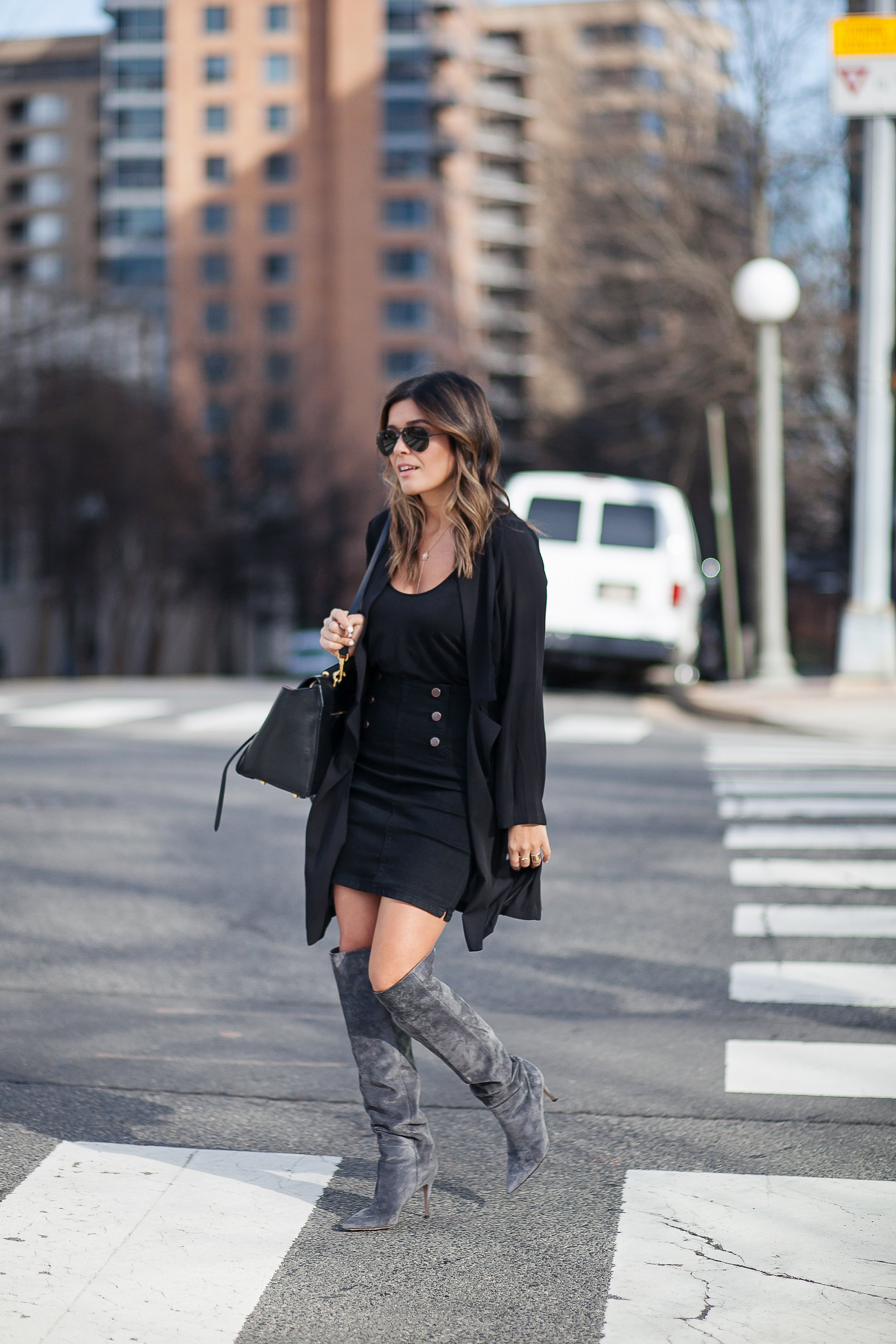 All black denim skirt look