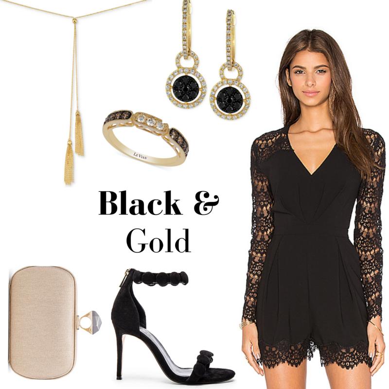 Macy's Semi-Annual Diamond Sale Black and Gold Look