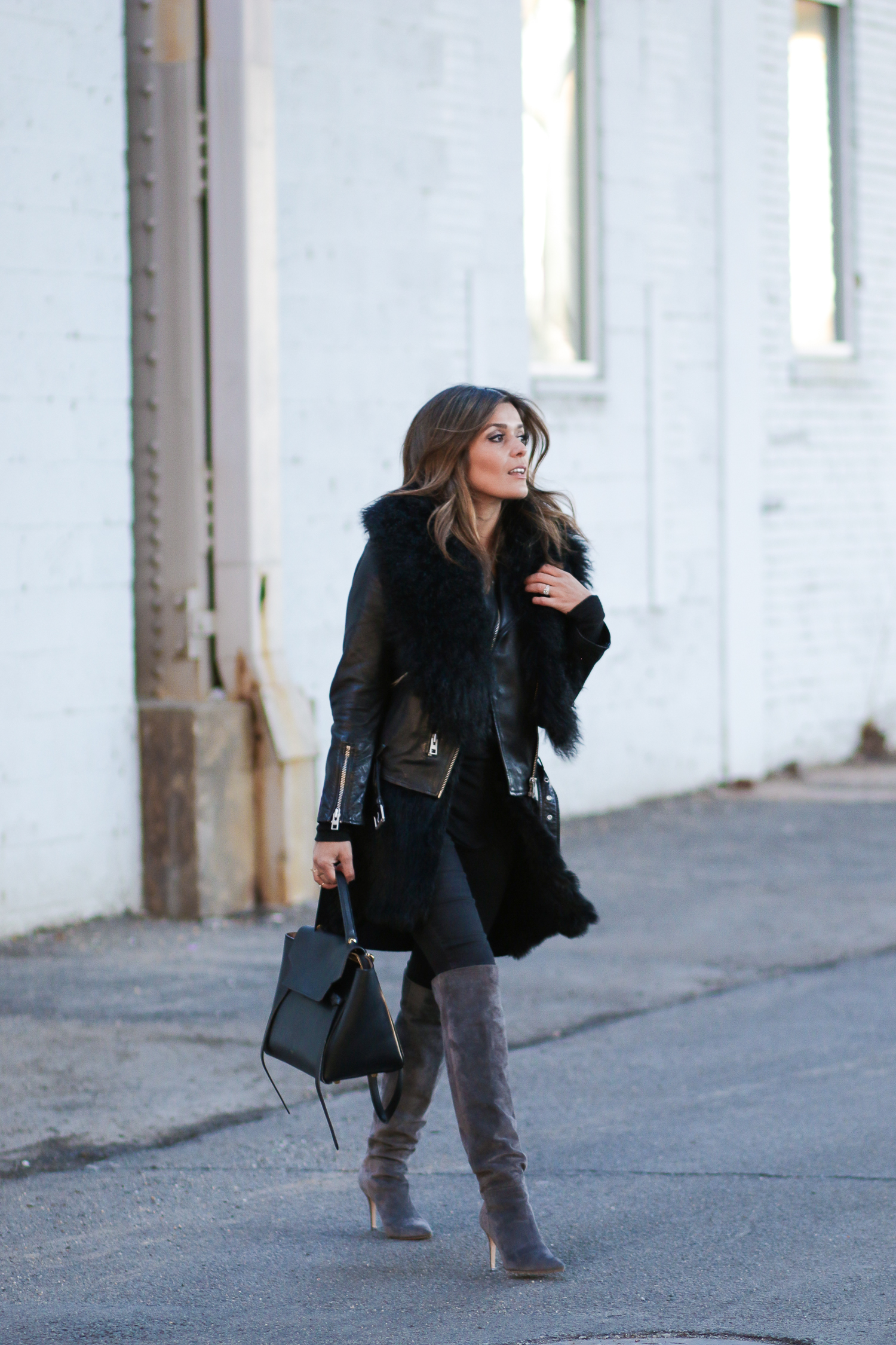 Fur Leather Suede Look