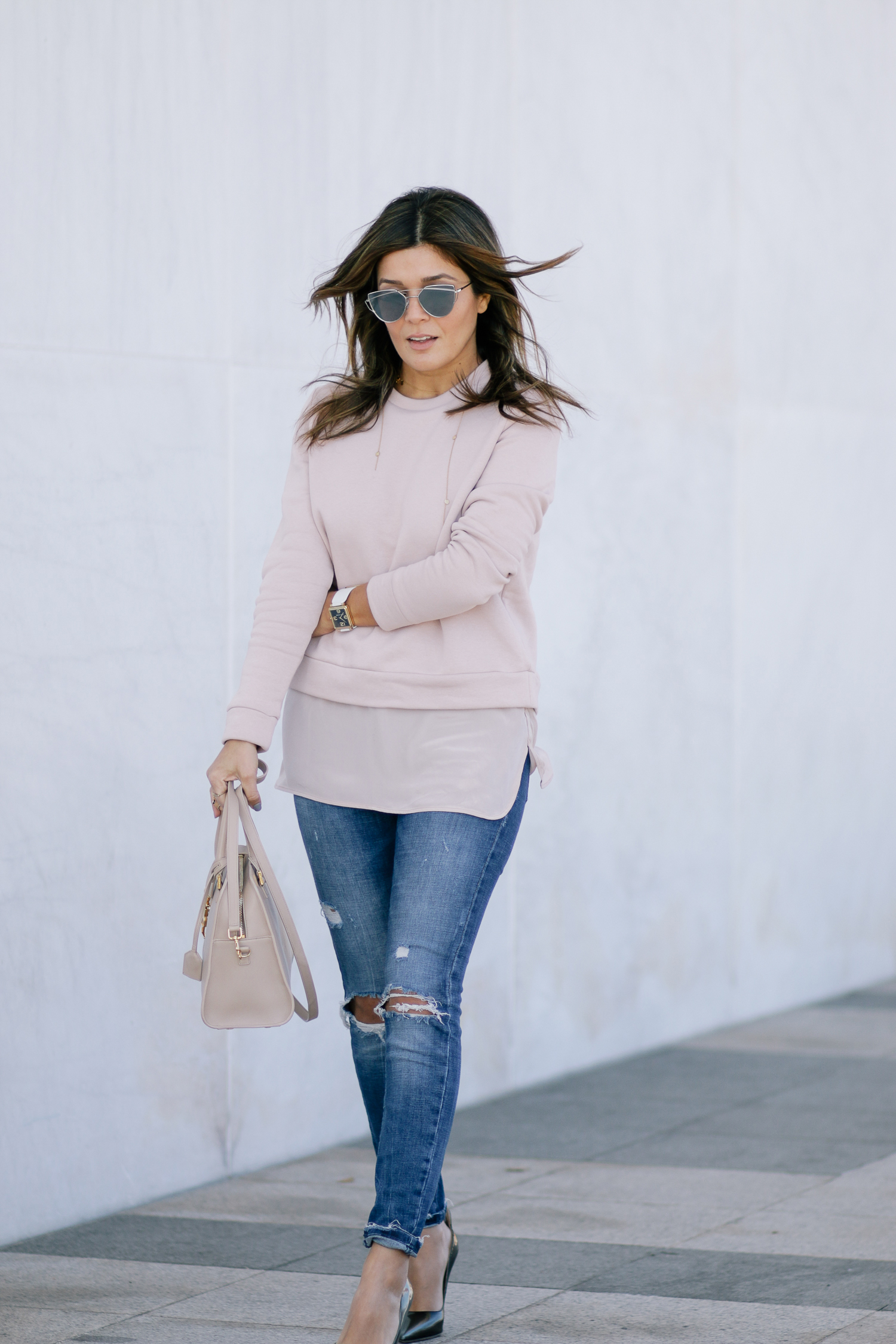 Zara Jeans and Blush Sweatshirt