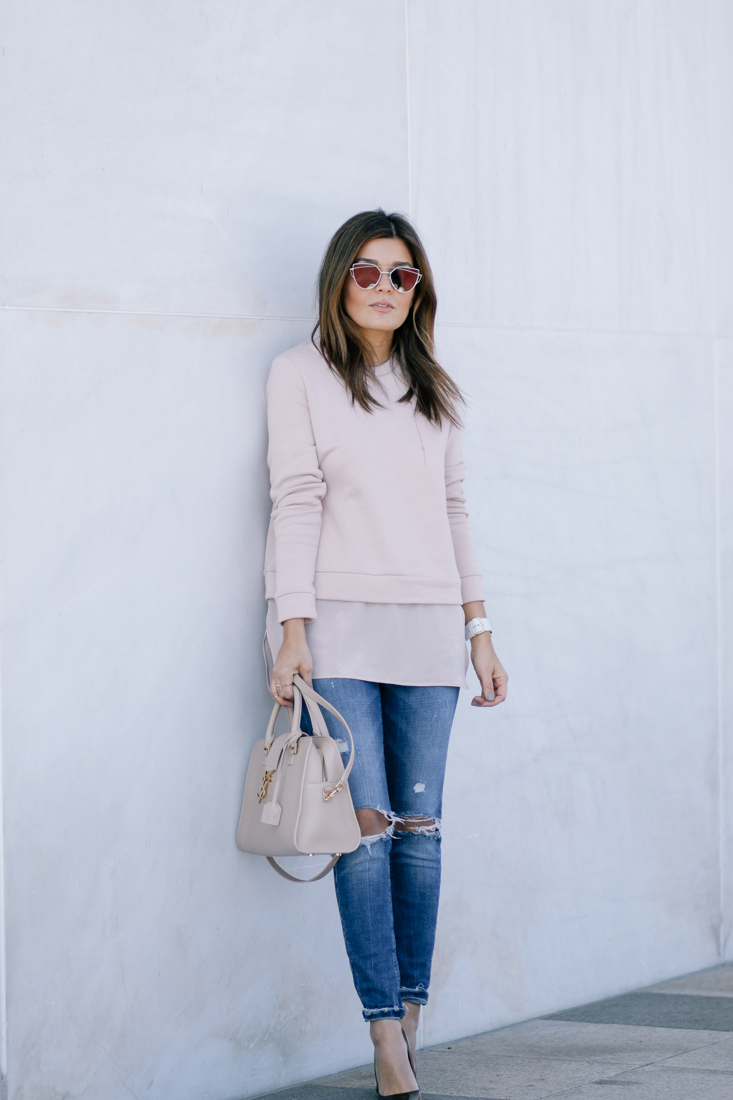 Blush Tones Look and YSL Tote