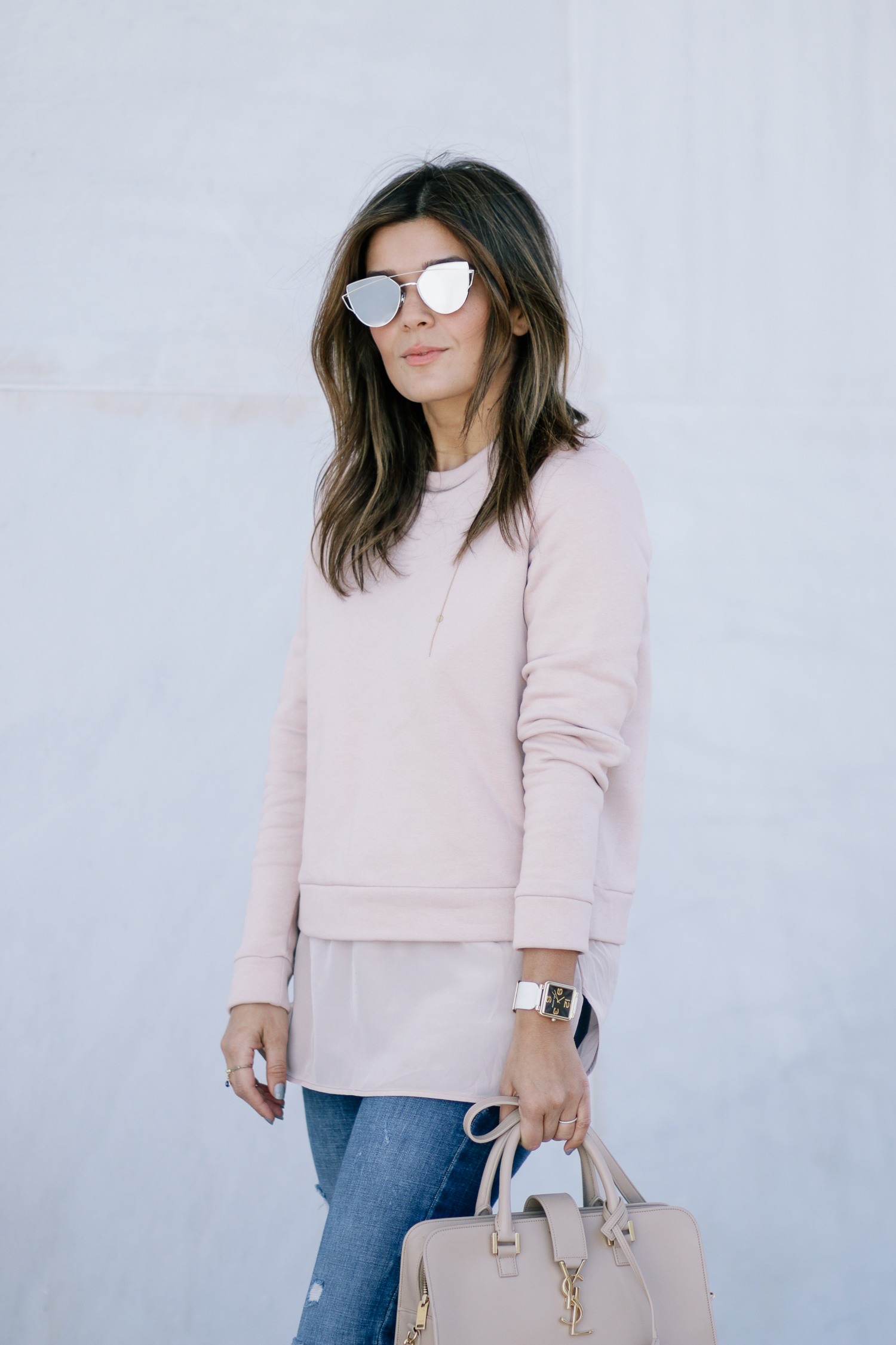 COS blush sweatshirt and gentle monster sunglasses