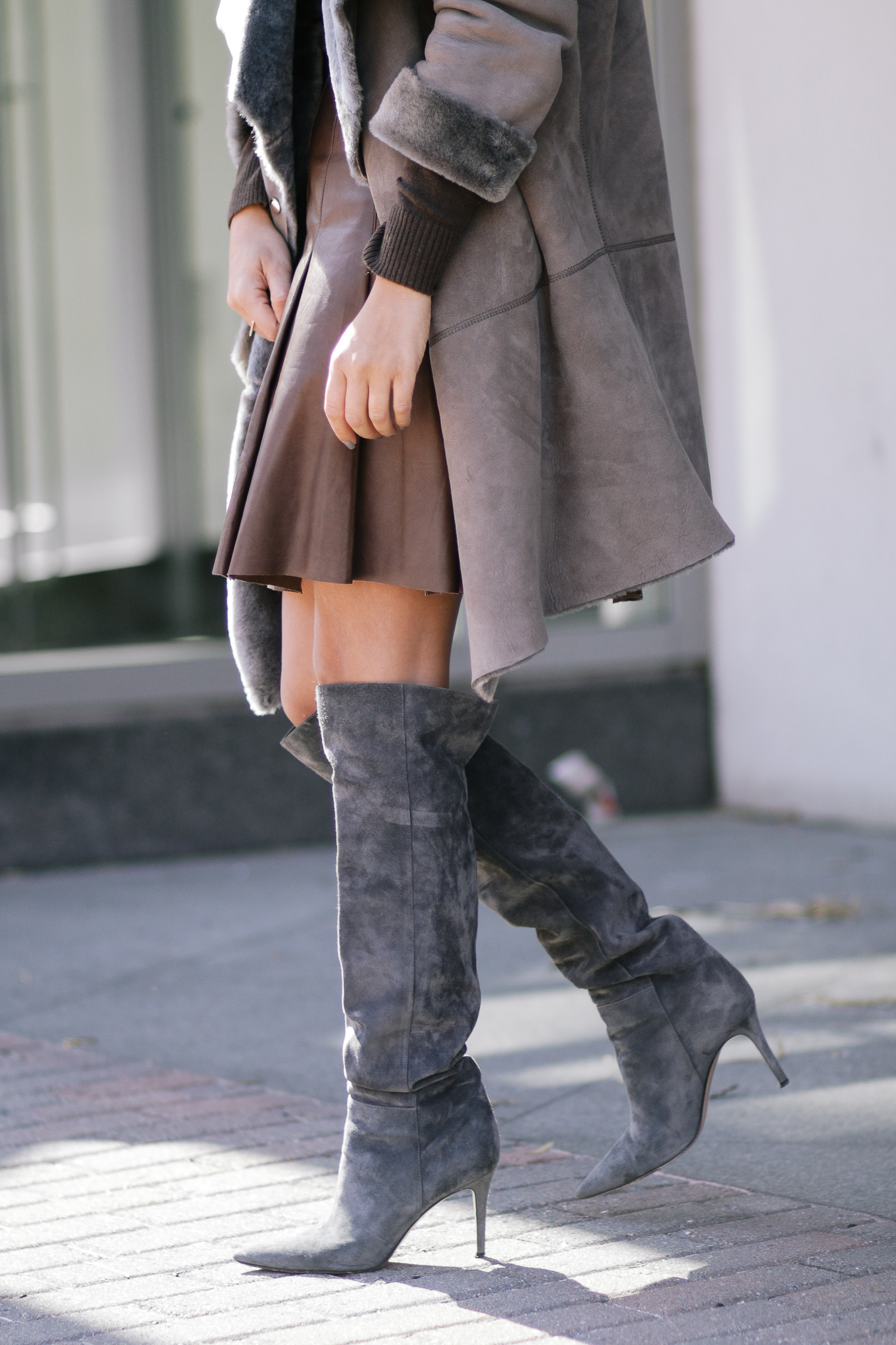 Winter Sales Shearling Coat and Pleated Leather Skirt