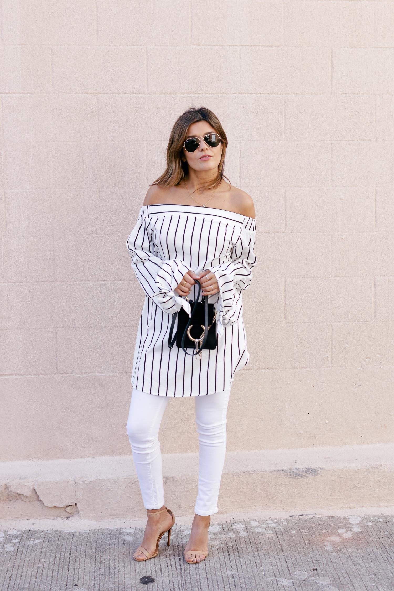 Striped Oversized Cold Shoulder Top