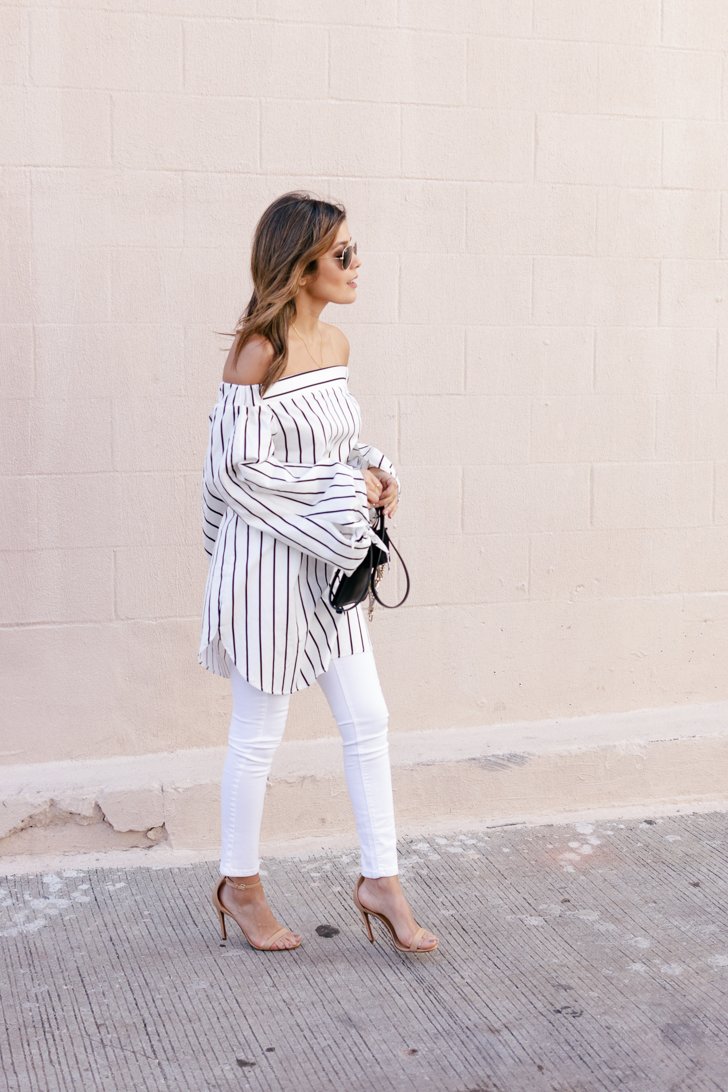 All white denim look