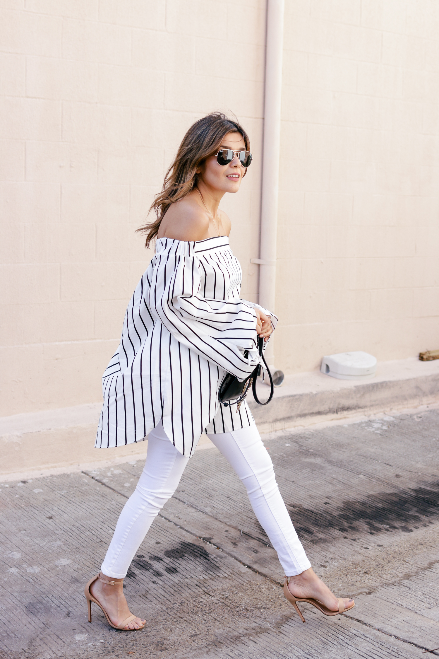 All white denim look with nude heels
