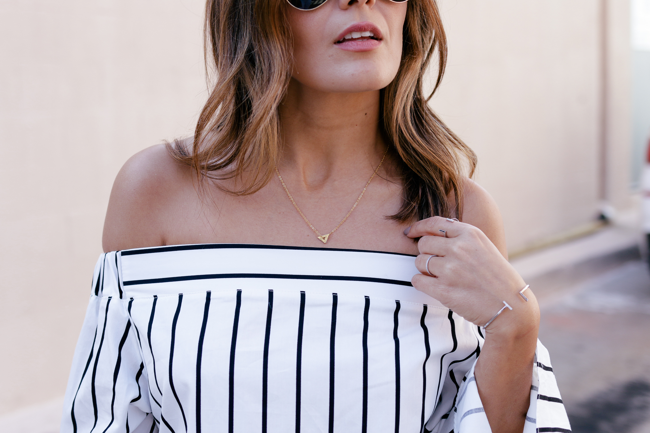 Off the shoulder STriped top with Stella Valle for Target Necklace